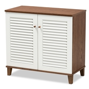 Baxton Studio Coolidge Modern and Contemporary White and Walnut Finished 4-Shelf Wood Shoe Storage Cabinet Baxton Studio restaurant furniture, hotel furniture, commercial furniture, wholesale living room furniture, wholesale display shelf, classic display shelf