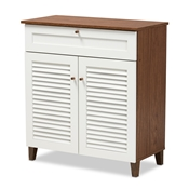 Baxton Studio Coolidge Modern and Contemporary White and Walnut Finished 4-Shelf Wood Shoe Storage Cabinet with Drawer Baxton Studio restaurant furniture, hotel furniture, commercial furniture, wholesale living room furniture, wholesale display shelf, classic display shelf