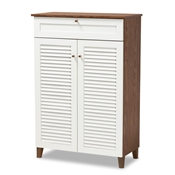 Baxton Studio Coolidge Modern and Contemporary White and Walnut Finished 5-Shelf Wood Shoe Storage Cabinet with Drawer Baxton Studio restaurant furniture, hotel furniture, commercial furniture, wholesale living room furniture, wholesale display shelf, classic display shelf