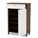 Baxton Studio Coolidge Modern and Contemporary White and Walnut Finished 5-Shelf Wood Shoe Storage Cabinet with Drawer - IEFP-03LV-Walnut/White
