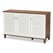 Baxton Studio Coolidge Modern and Contemporary Walnut Finished 8-Shelf Wood Shoe Storage Cabinet Baxton Studio restaurant furniture, hotel furniture, commercial furniture, wholesale living room furniture, wholesale display shelf, classic display shelf