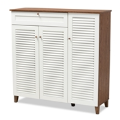 Baxton Studio Coolidge Modern and Contemporary Walnut Finished 11-Shelf Wood Shoe Storage Cabinet with Drawer Baxton Studio restaurant furniture, hotel furniture, commercial furniture, wholesale living room furniture, wholesale display shelf, classic display shelf