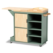 Baxton Studio Dorthy Coastal and Farmhouse Two-tone Dark Green and Natural Wood Kitchen Storage Cart Baxton Studio restaurant furniture, hotel furniture, commercial furniture, wholesale dining room furniture, wholesale kitchen cart, classic kitchen cart