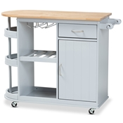 Baxton Studio Donnie Coastal and Farmhouse Two-Tone Light Grey and Natural Finished Wood Kitchen Storage Cart Baxton Studio restaurant furniture, hotel furniture, commercial furniture, wholesale dining room furniture, wholesale kitchen cart, classic kitchen cart