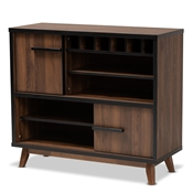 Baxton Studio Margo Mid-Century Modern Two-Tone Walnut Brown and Black Finished Wood Wine Storage Cabinet Baxton Studio restaurant furniture, hotel furniture, commercial furniture, wholesale living room furniture, wholesale storage cabinet, classic storage cabinet