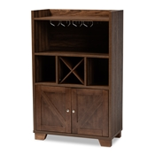 Baxton Studio Carrie Transitional Farmhouse Walnut Brown Finished Wood Wine Storage Cabinet Baxton Studio restaurant furniture, hotel furniture, commercial furniture, wholesale living room furniture, wholesale storage cabinet, classic storage cabinet
