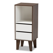 Baxton Studio Senja Modern and Contemporary Two-Tone White and Walnut Brown Finished Wood 2-Drawer Bookcase Baxton Studio restaurant furniture, hotel furniture, commercial furniture, wholesale living room furniture, wholesale display shelf, classic display shelf