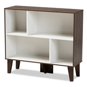 Baxton Studio Senja Modern and Contemporary Two-Tone White and Walnut Brown Finished Wood 4-Shelf Bookcase Baxton Studio restaurant furniture, hotel furniture, commercial furniture, wholesale living room furniture, wholesale display shelf, classic display shelf
