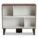 Baxton Studio Senja Modern and Contemporary Two-Tone White and Walnut Brown Finished Wood 4-Shelf Bookcase - IEBC 6289-01-Columbia/White-Bookcase