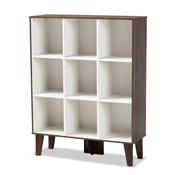 Baxton Studio Senja Modern and Contemporary Two-Tone White and Walnut Brown Finished Wood 9-Shelf Bookcase Baxton Studio restaurant furniture, hotel furniture, commercial furniture, wholesale living room furniture, wholesale display shelf, classic display shelf