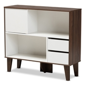 Baxton Studio Senja Modern and Contemporary Two-Tone White and Walnut Brown Finished Wood 2-Shelf Bookcase Baxton Studio restaurant furniture, hotel furniture, commercial furniture, wholesale living room furniture, wholesale display shelf, classic display shelf