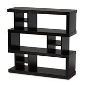 Baxton Studio Dora Modern and Contemporary Dark Brown Finished Wood 3-Tier Geometric Bookshelf Baxton Studio restaurant furniture, hotel furniture, commercial furniture, wholesale living room furniture, wholesale display shelf, classic display shelf