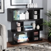 Baxton Studio Dora Modern and Contemporary Dark Brown Finished Wood 3-Tier Geometric Bookshelf - IEDV 8889-00-Espresso-Bookcase