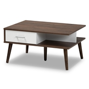 Baxton Studio Merlin Mid-Century Modern Two-Tone Walnut and White Finished 2-Drawer Wood Coffee Table Baxton Studio restaurant furniture, hotel furniture, commercial furniture, wholesale living room furniture, wholesale coffee table, classic coffee table