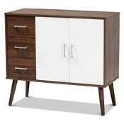 Baxton Studio Leena Mid-Century Modern Two-Tone White and Walnut Brown Finished Wood 3-Drawer Sideboard Buffet Baxton Studio restaurant furniture, hotel furniture, commercial furniture, wholesale dining furniture, wholesale counter sideboard, classic sideboard
