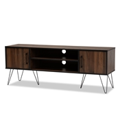 Baxton Studio Corina Mid-Century Modern Two-Tone Walnut and Black Finished Wood TV Stand Baxton Studio restaurant furniture, hotel furniture, commercial furniture, wholesale living room furniture, wholesale storage cabinet, classic storage cabinet