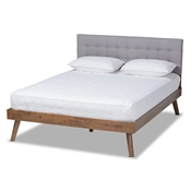 Baxton Studio Devan Mid-Century Modern Light Grey Fabric Upholstered Walnut Brown Finished Wood Full Size Platform Bed Baxton Studio restaurant furniture, hotel furniture, commercial furniture, wholesale bedroom furniture, wholesale full, classic full