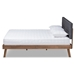 Baxton Studio Devan Mid-Century Modern Dark Grey Fabric Upholstered Walnut Brown Finished Wood King Size Platform Bed - IESW8168-Dark Grey/Walnut-M17-King