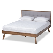 Baxton Studio Alke Mid-Century Modern Light Grey Fabric Upholstered Walnut Brown Finished Wood Full Size Platform Bed Baxton Studio restaurant furniture, hotel furniture, commercial furniture, wholesale bedroom furniture, wholesale full, classic full