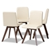 Baxton Studio Pernille Modern Transitional Cream Faux Leather Upholstered Walnut Finished 4-Piece Wood Dining Chair Set - IELW1902G-Cream/Walnut-DC