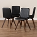 Baxton Studio Pernille Modern Transitional Black Faux Leather Upholstered Walnut Finished 4-Piece Wood Dining Chair Set - IELW1902G-Black/Walnut-DC