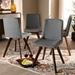 Baxton Studio Pernille Modern Transitional Grey Fabric Upholstered Walnut Finished 4-Piece Wood Dining Chair Set - IELW1902-Grey/Walnut-DC