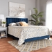 Baxton Studio Clare Glam and Luxe Navy Blue Velvet Fabric Upholstered King Size Panel Bed with Channel Tufted Headboard - IECF8747X-Navy Blue Velvet-King