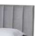 Baxton Studio Clare Glam and Luxe Grey Velvet Fabric Upholstered King Size Panel Bed with Channel Tufted Headboard - IECF8747X-Grey Velvet-King