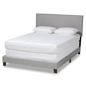 Baxton Studio Ramon Modern and Contemporary Grey Linen Fabric Upholstered Full Size Panel Bed with Nailhead Trim Baxton Studio restaurant furniture, hotel furniture, commercial furniture, wholesale bedroom furniture, wholesale full, classic full