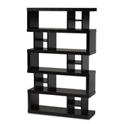 Baxton Studio Dora Modern and Contemporary Dark Brown Finished Wood 5-Tier Geometric Bookshelf Baxton Studio restaurant furniture, hotel furniture, commercial furniture, wholesale living room furniture, wholesale display shelf, classic display shelf