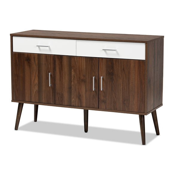 Baxton Studio Leena Mid-Century Modern Two-Tone White and Walnut Brown Finished Wood 2-Drawer Sideboard Buffet