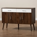 Baxton Studio Leena Mid-Century Modern Two-Tone White and Walnut Brown Finished Wood 2-Drawer Sideboard Buffet - IECA 5712-00-Columbia/White-Sideboard