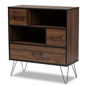 Baxton Studio Charis Modern and Transitional Two-Tone Walnut Brown and Black Finished Wood 1-Drawer Bookcase Baxton Studio restaurant furniture, hotel furniture, commercial furniture, wholesale living room furniture, wholesale display shelf, classic display shelf