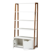 Baxton Studio Senja Modern and Contemporary Two-Tone White and Ash Walnut Brown Finished Wood 2-Door Ladder Bookshelf Baxton Studio restaurant furniture, hotel furniture, commercial furniture, wholesale living room furniture, wholesale display shelf, classic display shelf