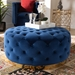 Baxton Studio Sasha Glam and Luxe Royal Blue Velvet Fabric Upholstered Gold Finished Round Cocktail Ottoman - IETSF-6689-Royal Blue/Gold-Otto