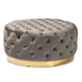 Baxton Studio Sasha Glam and Luxe Grey Velvet Fabric Upholstered Gold Finished Round Cocktail Ottoman