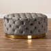 Baxton Studio Sasha Glam and Luxe Grey Velvet Fabric Upholstered Gold Finished Round Cocktail Ottoman - IETSF-6689-Grey/Gold-Otto