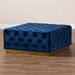 Baxton Studio Verene Glam and Luxe Royal Blue Velvet Fabric Upholstered Gold Finished Square Cocktail Ottoman - IETSF-6690-Royal Blue/Gold-Otto