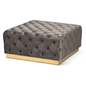 Baxton Studio Verene Glam and Luxe Grey Velvet Fabric Upholstered Gold Finished Square Cocktail Ottoman Baxton Studio restaurant furniture, hotel furniture, commercial furniture, wholesale living room furniture, wholesale storage ottoman, classic storage ottoman