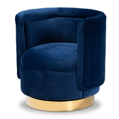 Baxton Studio Saffi Glam and Luxe Royal Blue Velvet Fabric Upholstered Gold Finished Swivel Accent Chair Baxton Studio restaurant furniture, hotel furniture, commercial furniture, wholesale living room furniture, wholesale coffee table, classic coffee table