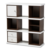 Baxton Studio Rune Modern and Contemporary Two-Tone White and Walnut Brown Finished 2-Drawer Bookcase Baxton Studio restaurant furniture, hotel furniture, commercial furniture, wholesale living room furniture, wholesale display shelf, classic display shelf