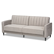 Baxton Studio Colby Mid-Century Modern Light Grey Fabric Upholstered Sleeper Sofa Baxton Studio restaurant furniture, hotel furniture, commercial furniture, wholesale living room furniture, wholesale accent chairs, classic accent chairs
