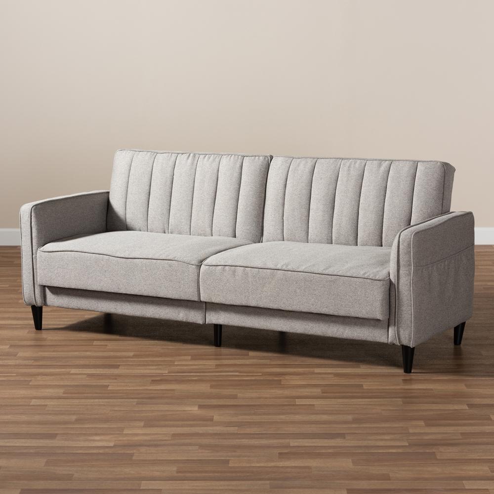 Baxton Studio Colby Mid Century Modern Light Grey Fabric ...