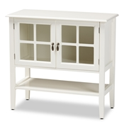Baxton Studio Chauncey Classic and Traditional White Finished Wood and Glass 2-Door Kitchen Storage Cabinet Baxton Studio restaurant furniture, hotel furniture, commercial furniture, wholesale living room furniture, wholesale storage cabinet, classic storage cabinet
