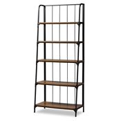 Baxton Studio Ceren Vintage Rustic Industrial Distressed Wood and Black Metal Finished 5-Tier Living Room Ladder Shelf Baxton Studio restaurant furniture, hotel furniture, commercial furniture, wholesale living room furniture, wholesale display shelf, classic display shelf