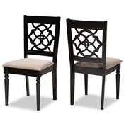 Baxton Studio Renaud Modern and Contemporary Sand Fabric Upholstered and Espresso Brown Finished Wood 2-Piece Dining Chair Set Set