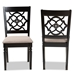Baxton Studio Renaud Modern and Contemporary Sand Fabric Upholstered and Espresso Brown Finished Wood 2-Piece Dining Chair Set Set - IERH332C-Sand/Dark Brown-DC-2PK