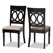 Baxton Studio Lucie Modern and Contemporary Sand Fabric Upholstered and Espresso Brown Finished Wood 2-Piece Dining Chair Set Set