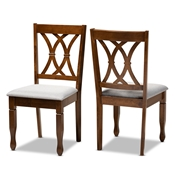 Baxton Studio Augustine Modern and Contemporary Grey Fabric Upholstered and Walnut Brown Finished Wood 2-Piece Dining Chair Set Set