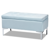 Baxton Studio Mabel Modern and Contemporary Transitional Light Blue Velvet Fabric Upholstered Silver Finished Storage Ottoman Baxton Studio restaurant furniture, hotel furniture, commercial furniture, wholesale living room furniture, wholesale storage ottoman, classic storage ottoman